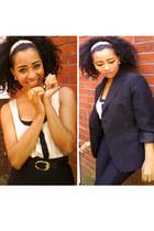 black H&M leggings - black vintageage blazer - H&M ring - neutral new look top -