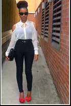 off white Republic blouse - red Miss Selfridge shoes - black Jane Norman pants