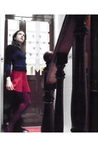 ruby red Zara skirt - black flea market shoes - navy Primark shirt