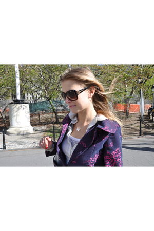 brown Gucci sunglasses - white Armani Exchange top - purple Ambiance San Francis