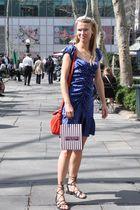 blue Betsey Johnson dress - black Nine West shoes - silver Lucid New York neckla