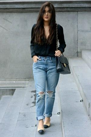 505c slim Levis jeans - vintage jumbo Chanel bag - relax fit acne blouse