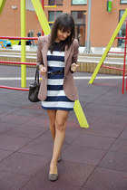 brown Zara shoes - navy H&M dress - light brown H&M blazer