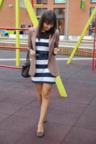 brown Zara shoes - navy H&M dress - light brown H&M blazer