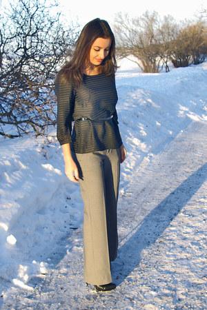 black Aldo shoes - black H&M blouse - gray Zara pants