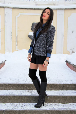 black Chalres&Keith boots - gray Vila blazer - blue denim lindex shirt