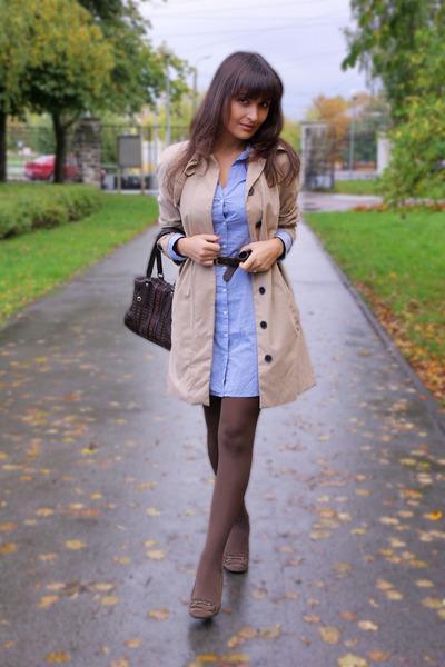 tan Mango coat - dark brown Zara shoes - periwinkle H&M dress