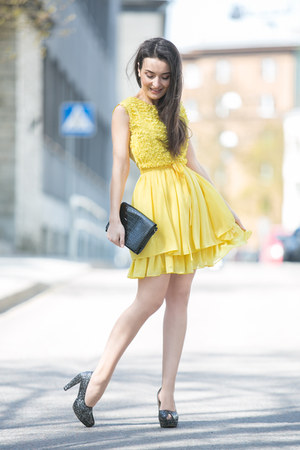 yellow Waggon Paris dress - black H&M purse - silver heels