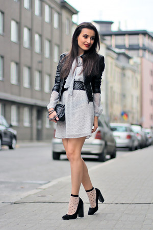 black NewYorker jacket - heather gray Mango dress - black Zara bag
