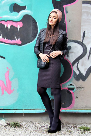 black New Yorker jacket - dark gray Waggon Paris dress - black Zara bag