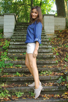 blue denim shirt Promod shirt - beige Zara shorts