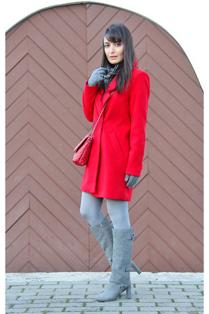 red Choies coat - heather gray Charles & Keith boots - red Mango bag