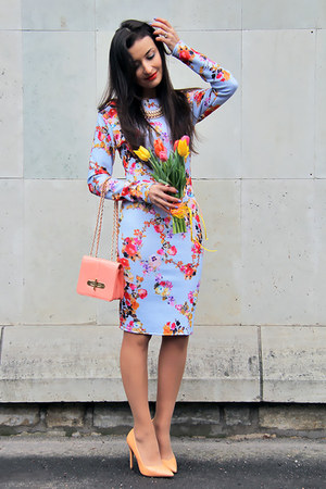 sky blue floral Desire dress - peach Zara shoes - salmon Desire bag