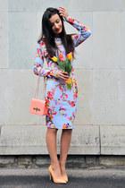 sky blue floral Desire dress - peach Zara shoes - salmon Desire bag