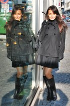 black Nunu Lie coat - black Promod skirt - black Varese boots - black H&M gloves