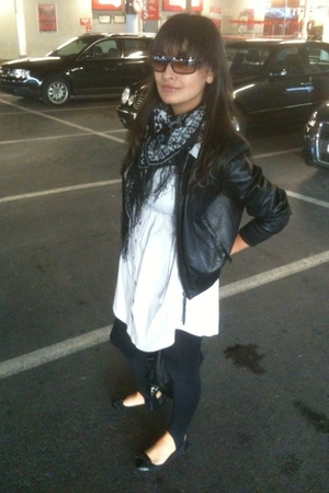 MORGAN jacket - H&M dress - H&M scarf - H&M leggings - H&M shoes - yvessaintlaur