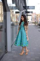 turquoise blue Perit Muuga dress - tan Mango coat - light orange Zara heels