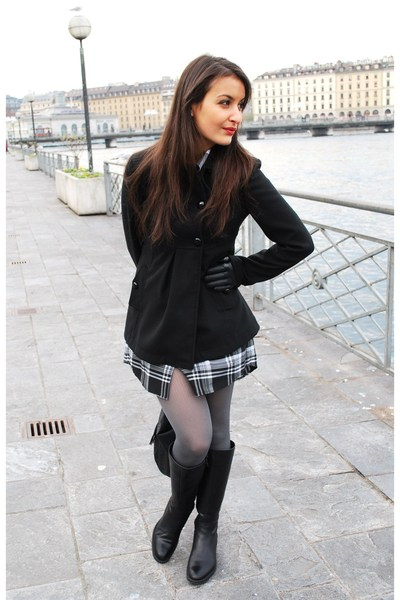 black Cristelle&amp;Co dress - black Varese boots - gray DIM tights - black Nuna Lie