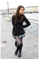 black Cristelle&Co dress - black Varese boots - gray DIM tights - black Nuna Lie