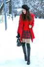 Black-charles-keith-boots-red-choies-coat-red-lindex-sweater