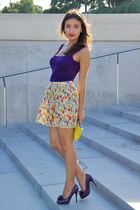 purple purple shoes Vina Vestina shoes - yellow Zara purse - light yellow floral