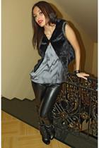 black faux fur Amisu vest - Vallenssia boots - silver H&M blouse