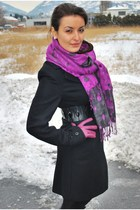 purple Global accessories scarf - black Xanaka coat - purple Fabi gloves - black