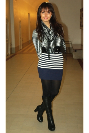 black H&M scarf - black Monton boots - blue reserved dress - black H&M leggings