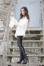 black H&M boots - black H&M leggings - silver H&M necklace - white H&M blouse