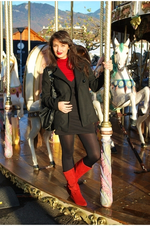 red Metro boots - red Promod blouse - black Tally Weijl dress - black Nuna Lie c
