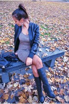 Promod dress - Emilio Cavallini tights - Monton boots - MORGAN jacket