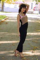 beige Bershka heels - tan lindex sandals - black Zara pants