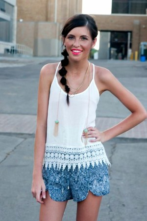 white white tank Lucky B Boutique top - blue Lucky B Boutique shorts