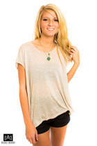 beige Amour Vert top - dark gray nikibiki shorts - green Geranium necklace