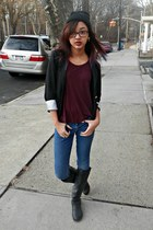 beanie hat - knee-high boots boots - maroon H&M shirt