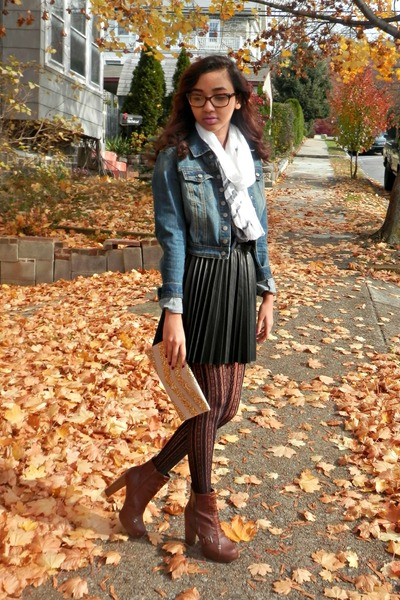 pleated skirt H&M skirt - leather boots - denim jacket Wet Seal jacket