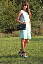 aquamarine OASAP dress - black Chanel bag - aquamarine H&M sandals