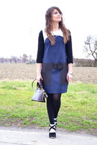 navy 1-ONE dress - black Miu Miu boots - crimson Louis Vuitton bag