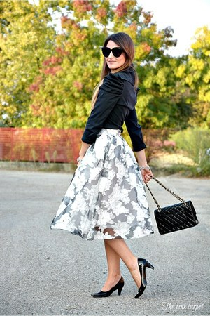 white Fashion Union skirt - black Chanel bag - black Celine sunglasses