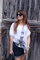 white Agatha Cri t-shirt - black Prada bag - black Zara shorts