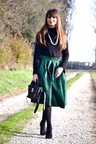 green polyester Choies skirt - black leather 31 Phillip Lim bag