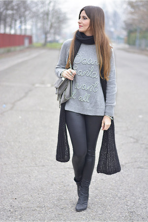 heather gray H&M sweater - black Giuseppe Zanotti boots