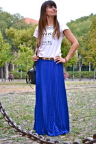 blue chiffon OASAP skirt - black leather 31 Phillip Lim bag
