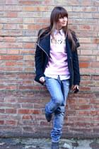 pink Kenzo sweatshirt - blue dondup jeans - black Premiere hat