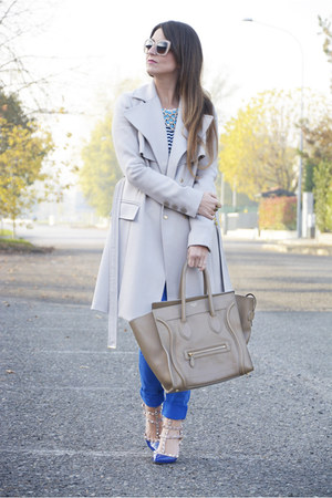 beige Elisabetta Franchi coat - camel Celine bag