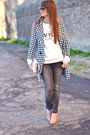 Sheinside coat - heather gray dondup jeans - eggshell Miu Miu bag
