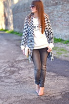 Sheinside coat - heather gray dondup jeans - eggshell Miu Miu bag