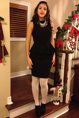 peplum Zara dress - white Forever 21 tights - Zara necklace