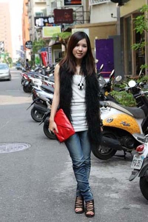 red Marc Jacobs accessories - blue from Korea jeans - blazer