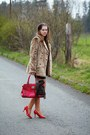 Red-new-yorker-shoes-black-leather-tally-weijl-dress-beige-faux-fur-tally-we